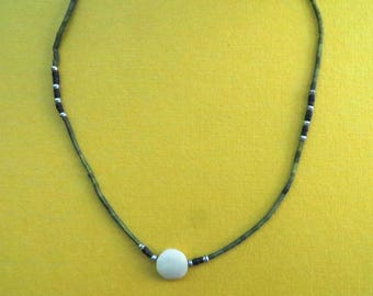 Dainty Necklace of Khotan Jade Disc Accented by Silver Beads, and Deep Green Tubes and Black Tubes.