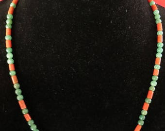 Classic Necklace of Adventurine Beads and Coral Tubes // green and orange