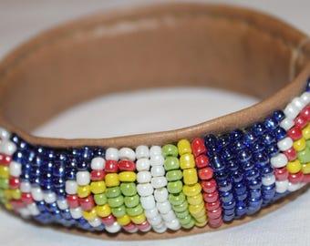 Handmade African Beaded Leather Bangle Bracelet - Brilliant Black or Blue Patterned