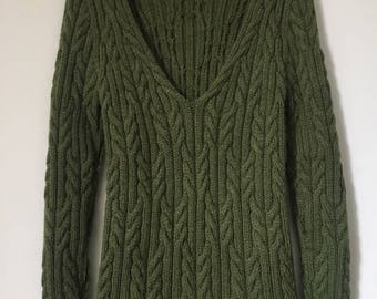 Cable Knit Sweater, Green Handmade Sweater