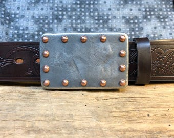 Hand Cast Belt Buckle of Solid Pewter with Copper Rivets