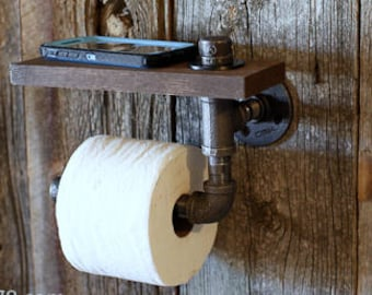 Industrial Iron pipe toilet paper holder with shelf offered in various colors