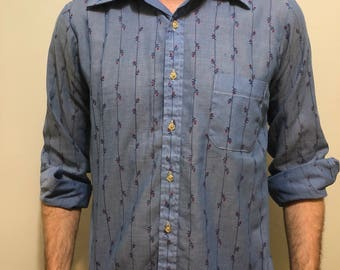 Vintage Rose Pattern Button Down / Retro Long Sleeve Dress Shirt