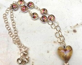 Gold Murano Heart Necklace