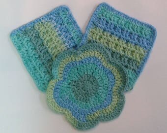 Cotton dishcloths, Crocheted dishcloths, set of 3
