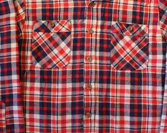 Vintage 70's Flannel Shirt   Size Medium   Sears   Perma-Prest   100% Acrylic