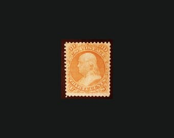 U.S. Postage Stamp 1868  30c Benjamin Franklin, Scott #100, Unused, No Gum