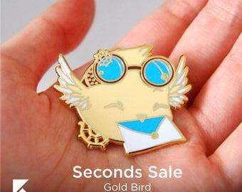 SECONDS SALE Steam Punk Bird Hard Enamel Pin Cute Gold Animal Gear Accessory