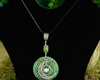 Handmade Pottery Jade and Triple Moon Pendant, 6.95 Shipping, Wicca, Witch, Triple Moon Goddess, Pagan, Goddess, Witchcraft, Witchy