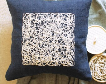 "Cheese Hand Embroidery-Handwoven Cushion Cover- Blue - 18""x 18"""