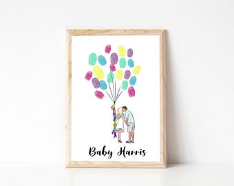 Baby Shower Custom Portrait Fingerprint Balloons - Printable PDF, couples portrait, custom illustration, guestbook, fingerprint tree