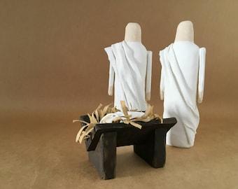 Christmas Nativity Set, White Standing Angels, Manger