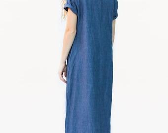 Vintage Indigo Linen Dress