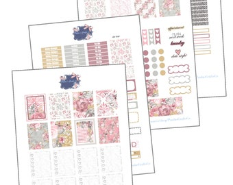 Pink Flowers Kit for the Erin Condren LP /Printable weekly kit