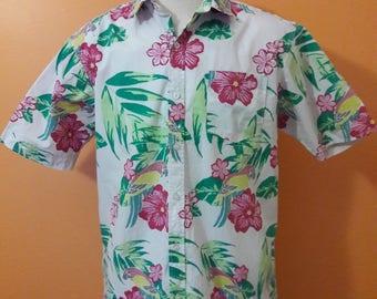 Hawaiian Shirt Large Vintage Button Up Shirt Men's Large