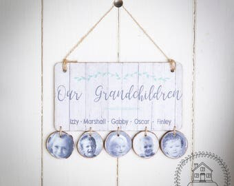 Nanny, Grannies or Grandma's house bespoke handmade wooden sign, personalised with names and photos, Grans Hand crafted plaque, Wall Decor