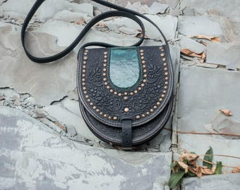 Black leather purse,  round leather bag, black bag with metal, embossed bag, crossbody bag, tooled black bag, gift for her, unique purse