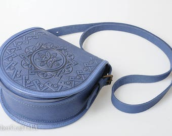 Shoulder leather bag, round crossbody bag, blue bag, genuine leather bag, tooled leather purse, hot tooled leather, unigue bag for her