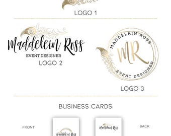Gold feather logo Wedding planner logo Event Planner logo Decorator logo Florist logo Premade logo Premade branding kit Custom logo 128