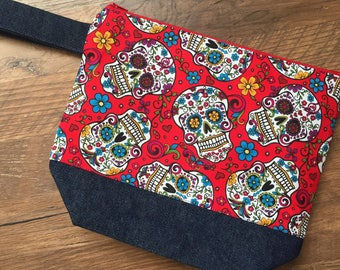 Knitting Bag, Project Bag, Crochet Bag, Fiber storage, Embroidery Bag, Make up Bag, Sugar Skull knitting bag, Day of the Dead Knitting