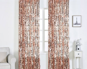"""SALE 2 Pack 52x108"""" Blush Big Payette Sequin Window Treatment Home Decor Curtain Backdrop Panels With Rod Pockets"""
