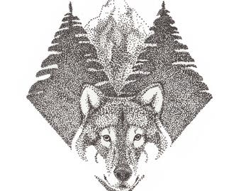 Wilderness print, wildlife illustration, mountain, forest, wolf drawing