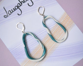 Abstract White and Teal Green Marbled Oval Hoop Earring Polymer Clay