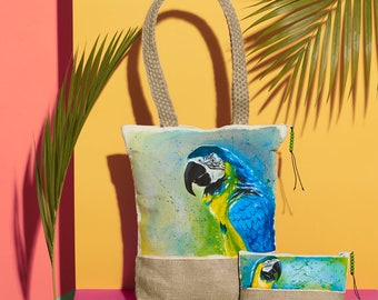 Blue and Gold Macaw Handpainted Summer Tote Bag and Pouch Set | Handmade from the Philippines
