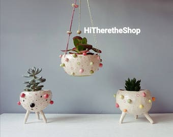The Bobbly Pot Collection - Ceramic, handmade, succulent pot, hanging planter, cactus pot, plant pot, home studio pottery, pinch pot.