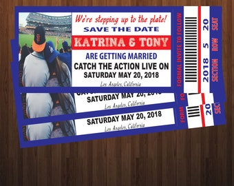 Save The Date Baseball Themed Ticket