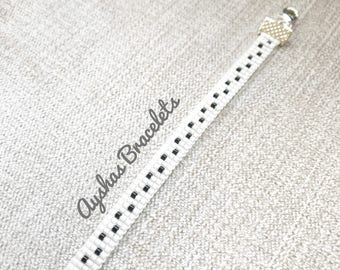 White and Black Miyuki Bracelet / Beaded Bracelet / Boho Style / Miyuki Bead Bracelet / Miyuki Delica