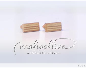 wooden cuff links wood alder maple handmade unique exclusive limited jewelry - mahoshiva k 2017-02