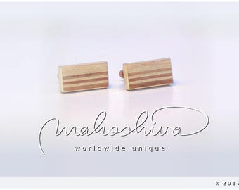 wooden cuff links wood cherry maple handmade unique exclusive limited jewelry - mahoshiva k 2017-12
