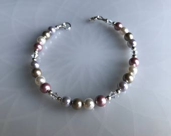 Multi Colored Swarovski Pearl & Swarovski Crystal Bracelet With Sterling Silver Components