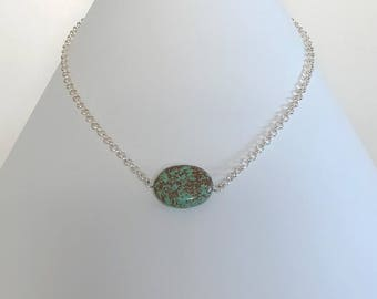 Green turquoise & Sterling Silver - necklace