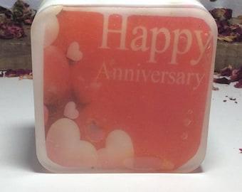 Handmade soap, happy anniversary design