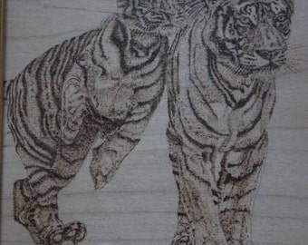 Tiger and Cub Pyrography Artwork 24cmx30cm