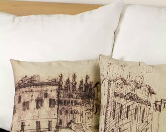 "Drawing of Moscow Kremlin - Set of 2 pillows, Russia, 16"" / 40  cm size - Limited Edition of 100"