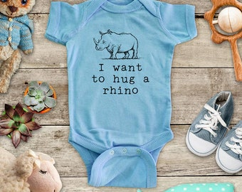 I want to hug a rhino rhinoceros - cute zoo animal funny Baby bodysuit or Toddler Shirt or Youth Shirt - cute birthday baby shower gift