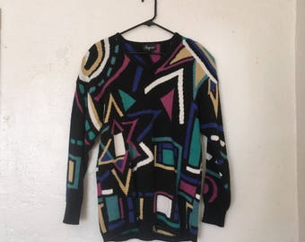 80's Geometric Oversized Sweater