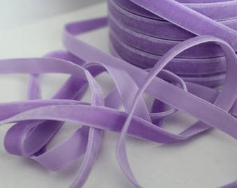 3/8 inch Orchid Velveteen Ribbon by the Yard / 10 MM Velveteen Ribbon / Velvet / Orchid / ER-V430