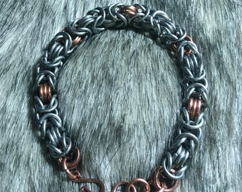 Triple Byzantine Chainmaille Bracelet - Copper and Galvanized Steel