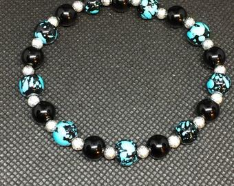 Black and teal marbeled bracelet