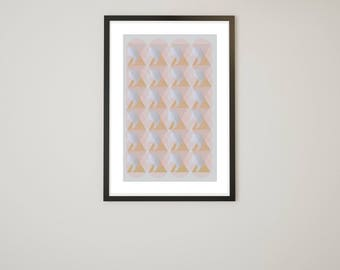 Abstract Pyramid Pattern with Gray Background - Instant Download