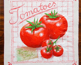 Paper napkins, red tomato napkin, tomatoes napkin, vegetables napkin, decoupage napkins, colorfull napkins,food napkins,kitchen paper napkin