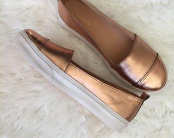 Leather shoes Flats Handmade shoes Women shoes Rose gold leather shoes Women leather shoes Casual shoes Rose gold Leather Metallic