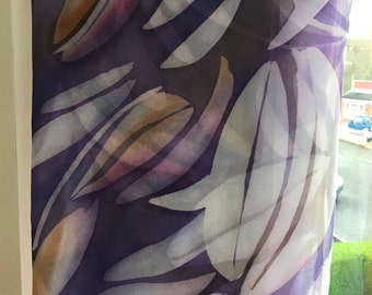 Chiffon silk purple scarf