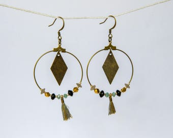 Earrings creole base decorated with tassel and fancy beads