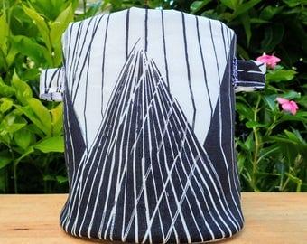Fabric Plant Pot | Storage Basket | Home Decor | Geometric Mountains B&W Print Planter | Gift | Fabric Basket | Storage Container | Large