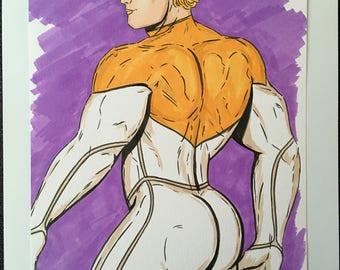 GAY MALE ART Dc Comics Superhero Apollo Muscle Stud Original Illustration Lgbt Hero Full Colour Pride Sexy Butt